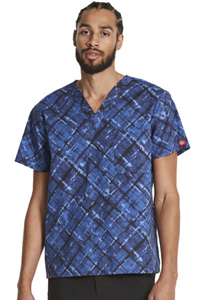 Dickies Prints Men's V-Neck Top in Painterly Plaid (DK725-PATD)