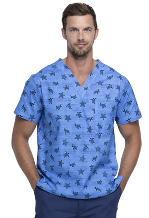 Dickies Prints Men's V-Neck Top in Sea Life (DK725-SIFE)