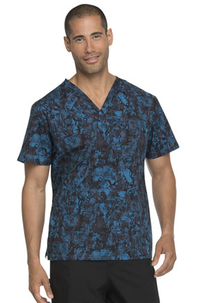 Dickies Prints Men's V-Neck Top in Tech-nically Speaking (DK725-TESP)