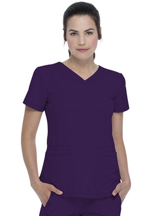 Dickies Dynamix V-Neck Top in Eggplant (DK730-EGG)