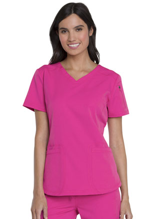 Dickies Dynamix V-Neck Top in Hot Pink (DK730-HPKZ)