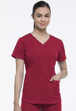 Dickies Dynamix V-Neck Top in Red (DK730-RED)