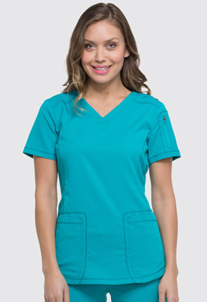 Dickies Dynamix V-Neck Top in Teal Blue (DK730-TLB)