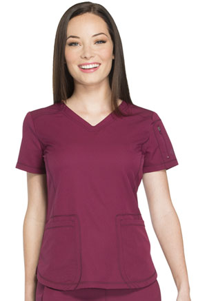 Dickies Dynamix V-Neck Top in Wine (DK730-WIN)
