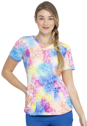 Dickies Dynamix V-Neck Top in Totally Tie Dye (DK731-TYDY)
