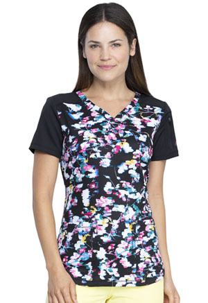 Dickies Dynamix V-Neck Top in Floral In Motion (DK732-FLMT)