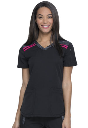 Dickies Dynamix V-Neck Top in Black / Hot Pink (DK740-BKHT)