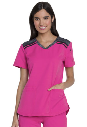 Dickies Dynamix V-Neck Top in Hot Pink (DK740-HPKZ)