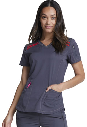 Dickies Dynamix V-Neck Top in Pewter / Red (DK740-PWRD)
