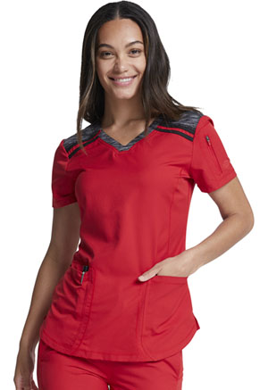 Dickies Dynamix V-Neck Top in Red (DK740-RED)