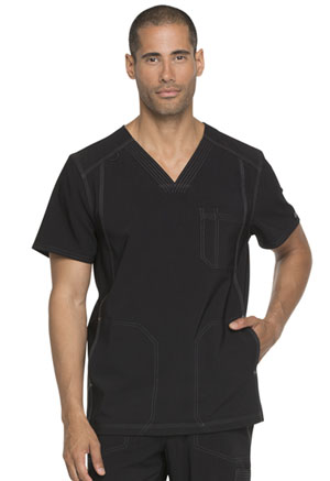 Dickies Advance Solid Tonal Twist Men's V-Neck Top in Black (DK750-BLK)