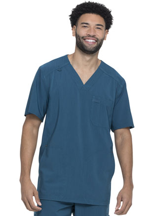 Dickies Advance Solid Tonal Twist Men's V-Neck Top in Caribbean Blue (DK750-CAR)