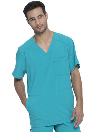 Dickies Advance Solid Tonal Twist Men's V-Neck Top in Teal Blue (DK750-TLB)