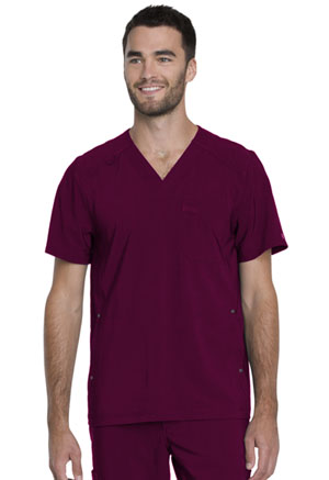 Dickies Advance Solid Tonal Twist Men's V-Neck Top in Wine (DK750-WIN)