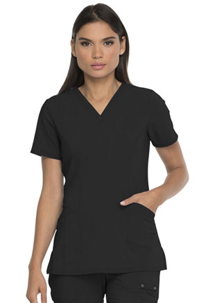 Dickies Advance Solid Tonal Twist V-Neck Top With Patch Pockets in Black (DK755-BLK)