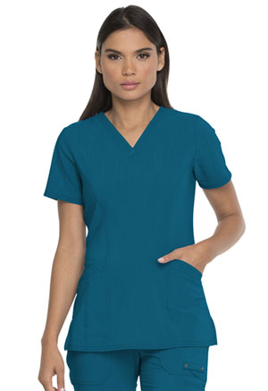 Dickies Advance Solid Tonal Twist V-Neck Top With Patch Pockets in Caribbean Blue (DK755-CAR)
