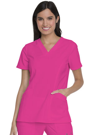 Dickies Advance Solid Tonal Twist V-Neck Top With Patch Pockets in Hot Pink (DK755-HPKZ)