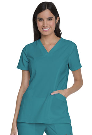 Dickies Advance Solid Tonal Twist V-Neck Top With Patch Pockets in Teal Blue (DK755-TLB)