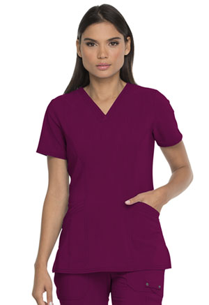 Dickies Advance Solid Tonal Twist V-Neck Top With Patch Pockets in Wine (DK755-WIN)