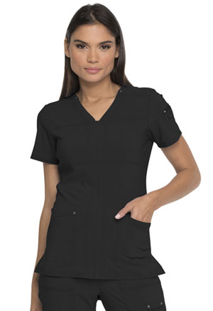 Dickies Advance Solid Tonal Twist V-Neck Top in Black (DK760-BLK)