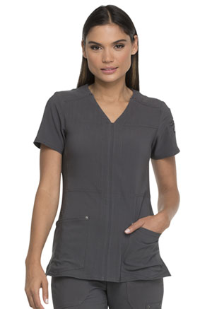 Dickies Advance Solid Tonal Twist V-Neck Top in Pewter (DK760-PWT)