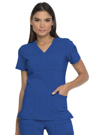 Dickies Advance Solid Tonal Twist V-Neck Top in Royal (DK760-ROY)