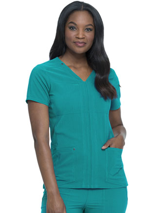 Dickies Advance Solid Tonal Twist V-Neck Top in Teal Blue (DK760-TLB)