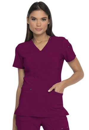 Dickies Advance Solid Tonal Twist V-Neck Top in Wine (DK760-WIN)