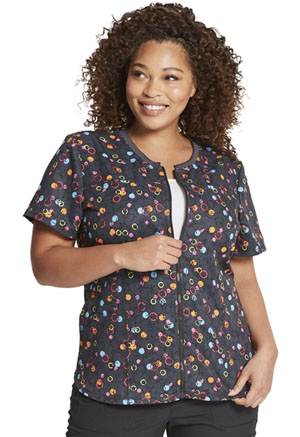 Dickies Prints Zip Front Round Neck Top in Dot's So Bright (DK776-DSSO)