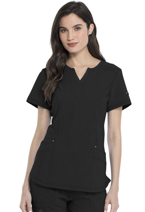Dickies Advance Solid Tonal Twist Shaped V-Neck Top in Black (DK785-BLK)