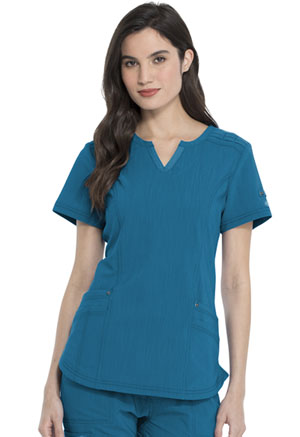 Dickies Advance Solid Tonal Twist Shaped V-Neck Top in Caribbean Blue (DK785-CAR)