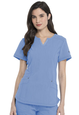 Dickies Advance Solid Tonal Twist Shaped V-Neck Top in Ciel Blue (DK785-CIE)