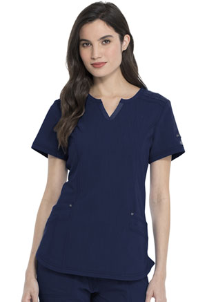 Dickies Advance Solid Tonal Twist Shaped V-Neck Top in D-Navy (DK785-NVYZ)