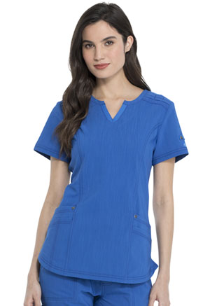 Dickies Advance Solid Tonal Twist Shaped V-Neck Top in Royal (DK785-ROY)