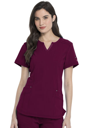 Dickies Advance Solid Tonal Twist Shaped V-Neck Top in Wine (DK785-WIN)