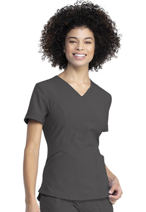 Dickies Retro V-Neck Top in Pewter (DK790-PWT)