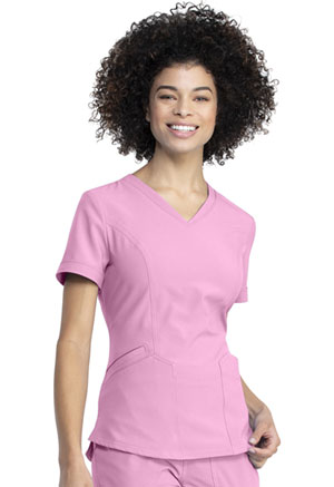 Dickies Retro V-Neck Top in Retro Pink (DK790-RTPK)