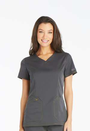 Dickies Essence V-Neck Top in Pewter (DK803-PWT)