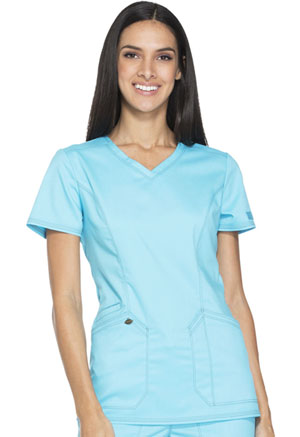 Dickies Essence V-Neck Top in Turquoise (DK803-TRQ)