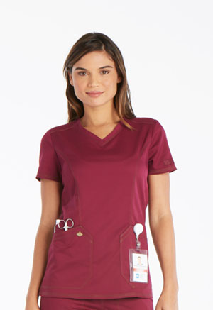 Dickies Essence V-Neck Top in Wine (DK803-WIN)