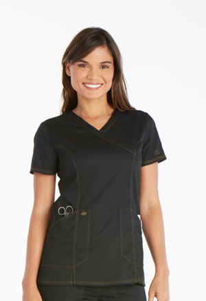 Dickies Essence Mock Wrap Top in Black (DK804-BLK)
