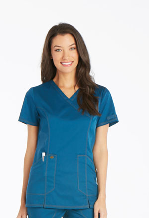 Dickies Essence Mock Wrap Top in Caribbean Blue (DK804-CAR)
