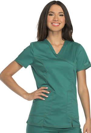 Dickies Essence Mock Wrap Top in Hunter Green (DK804-HUN)