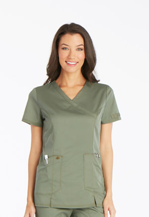 Dickies Essence Mock Wrap Top in Olive (DK804-OLV)