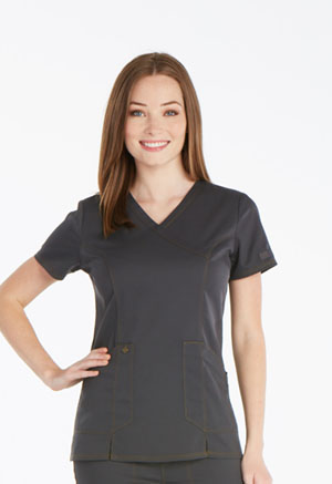 Dickies Essence Mock Wrap Top in Pewter (DK804-PWT)