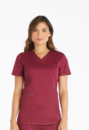 Dickies Essence Mock Wrap Top in Wine (DK804-WIN)