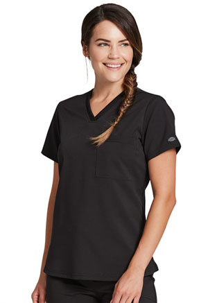 Dickies Balance Tuckable V-Neck Top in Black (DK812-BLK)