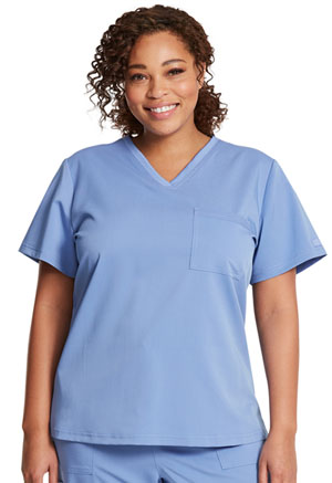 Dickies Balance Tuckable V-Neck Top in Ciel Blue (DK812-CIE)