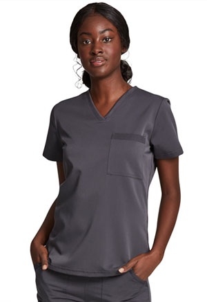 Dickies Balance Tuckable V-Neck Top in Pewter (DK812-PWT)