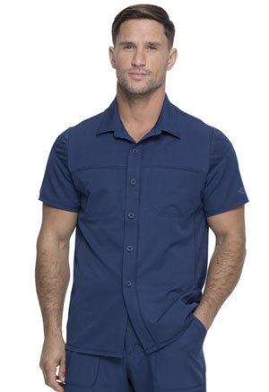 Dickies Dynamix Men's Button Front Collar Shirt in Navy (DK820-NAV)